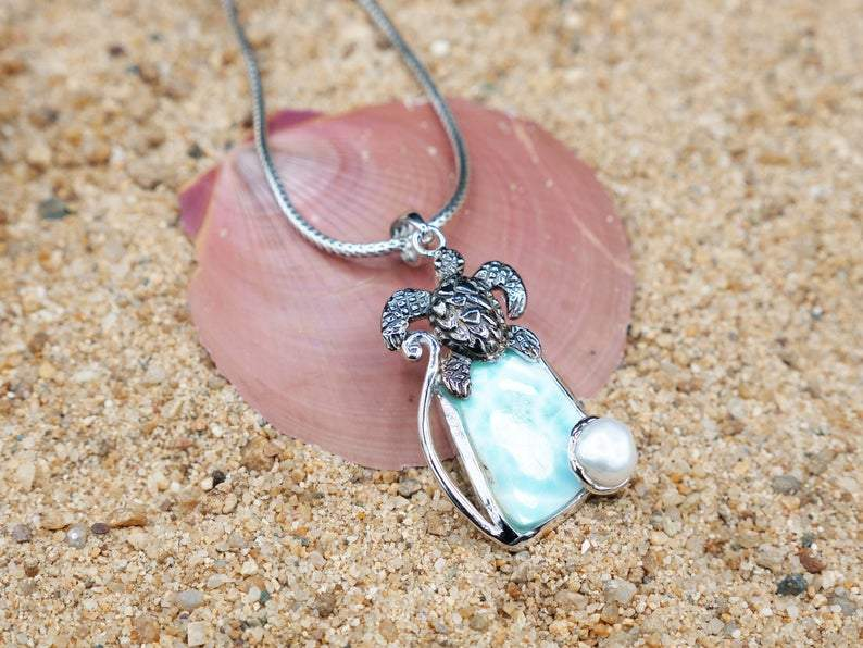 -Sea Turtle Pendant with Larimar and Pearl - Only One Piece Created-Coastal Passion