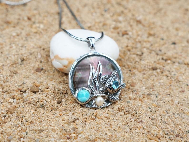 -Sea Turtle Pendant with Larimar, Blue Topaz and Pearl - Only One Piece Created-Coastal Passion