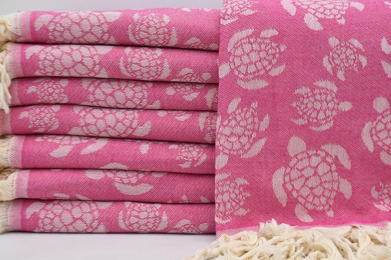 Sea Turtle Pink 100% Cotton Towel