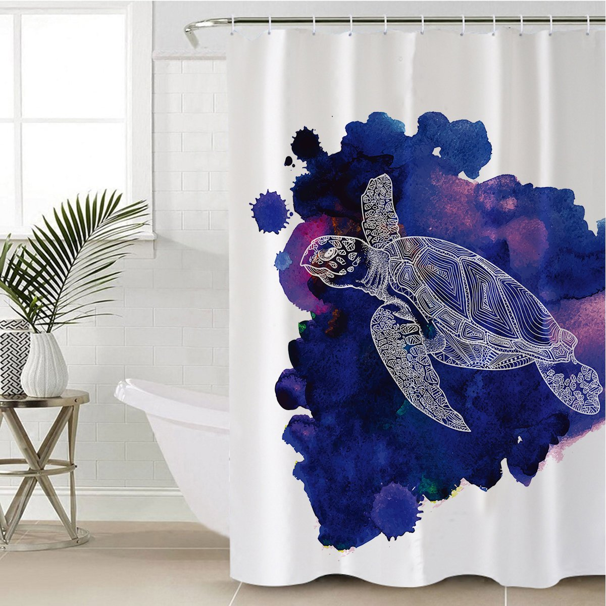 Sea Turtle Purple Shower Curtain-Coastal Passion