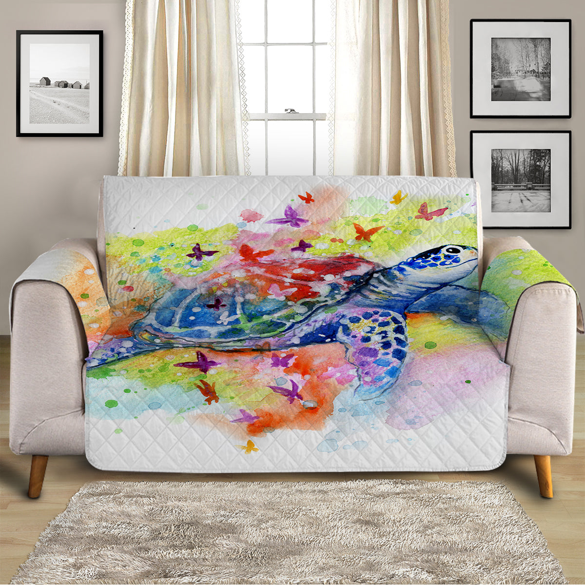 Sea Turtle Splash Sofa Cover