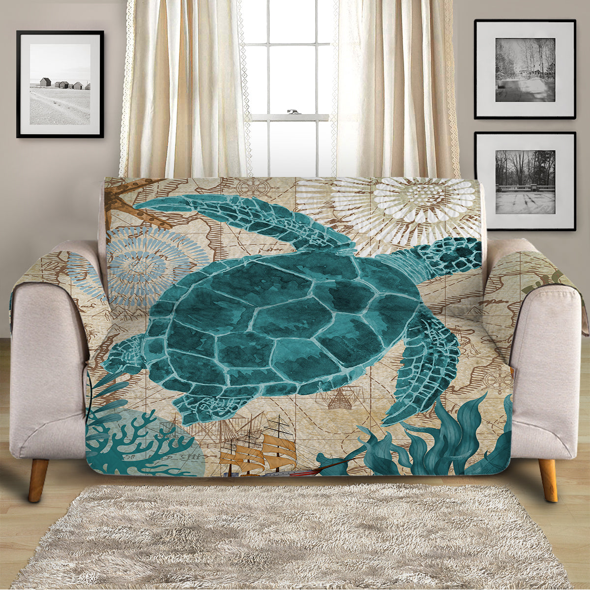 Sea Turtle Love Sofa Cover