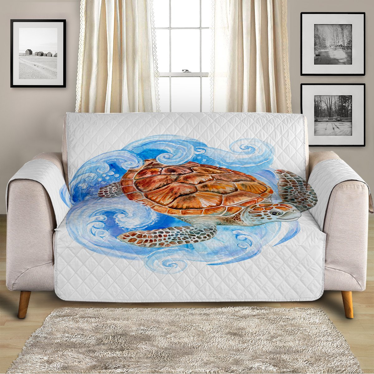 Sea Turtle Waves Sofa Cover