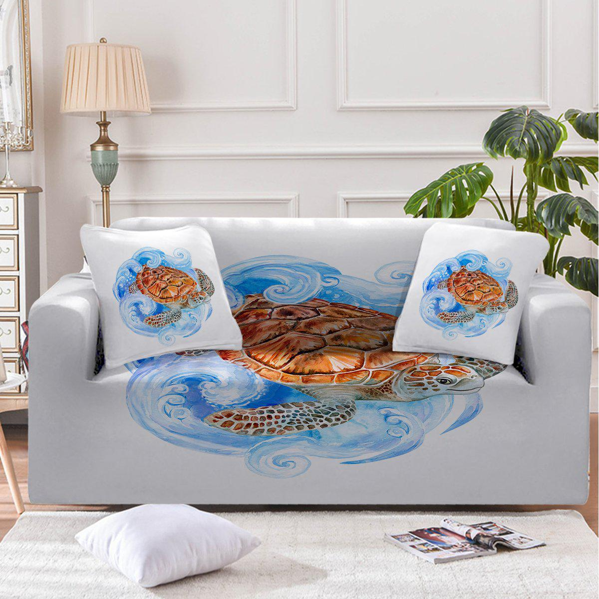 Sea Turtle Waves Couch Cover-Coastal Passion
