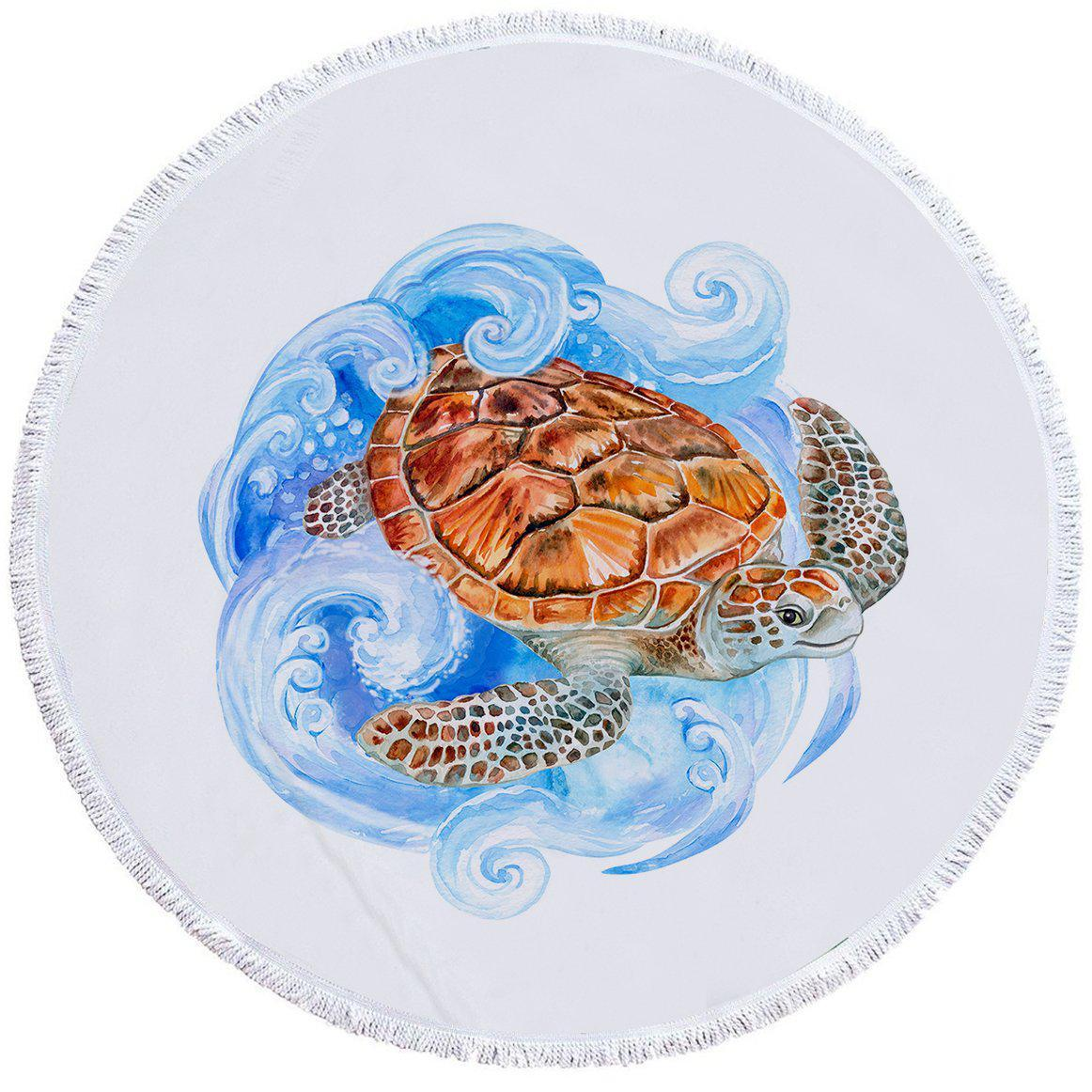 Sea Turtle Waves Round Beach Towel