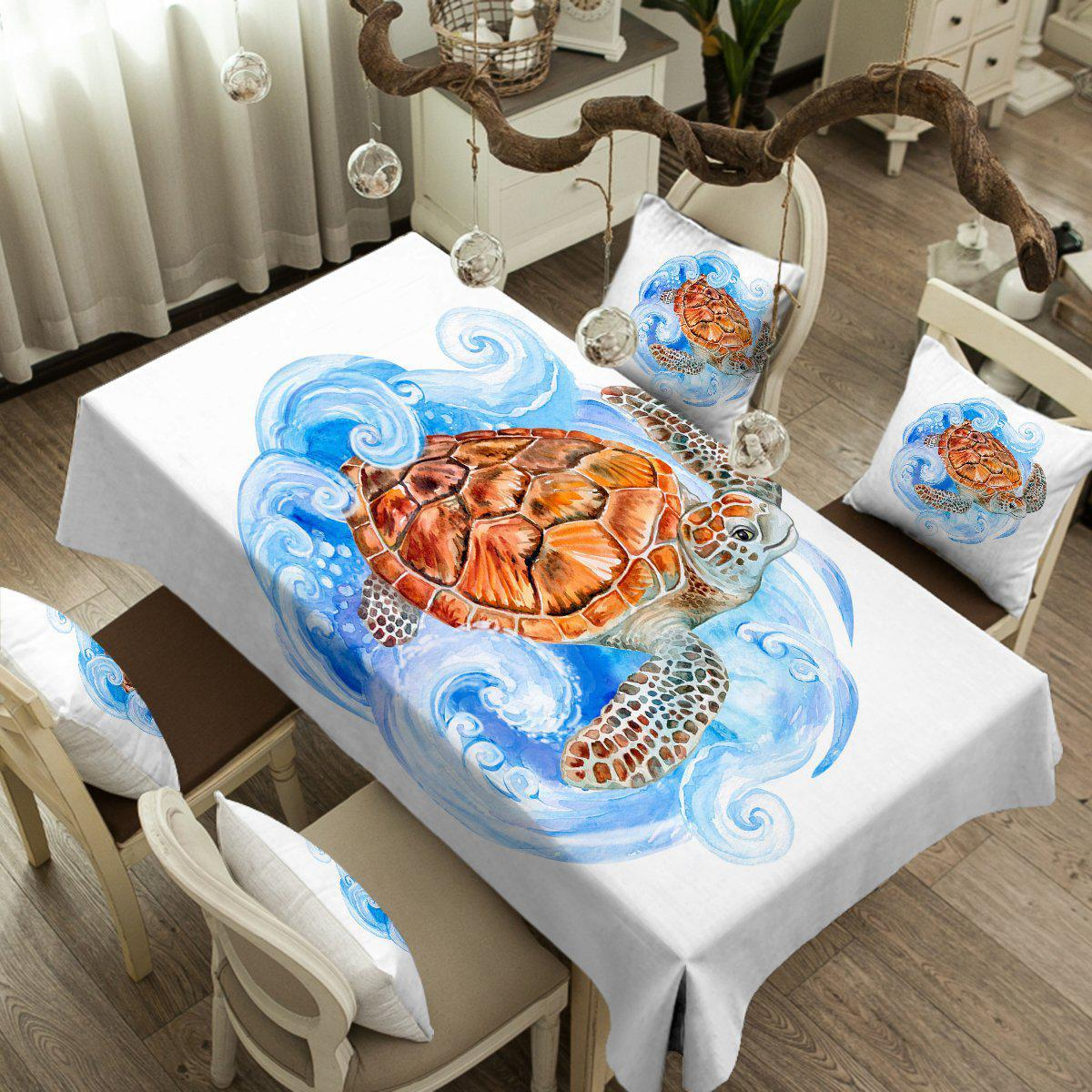 Sea Turtle Waves Tablecloth-Coastal Passion