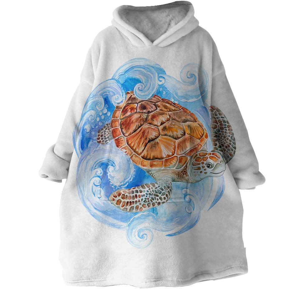 Sea Turtle Waves Wearable Blanket Hoodie-Coastal Passion