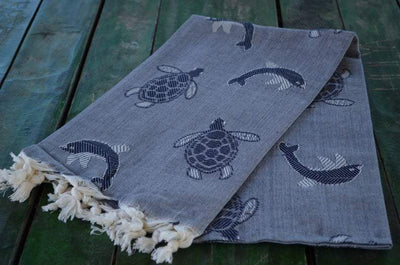 100% Cotton Turkish Towel-Sea Turtles and Dolphins Gray 100% Cotton Towel-Coastal Passion