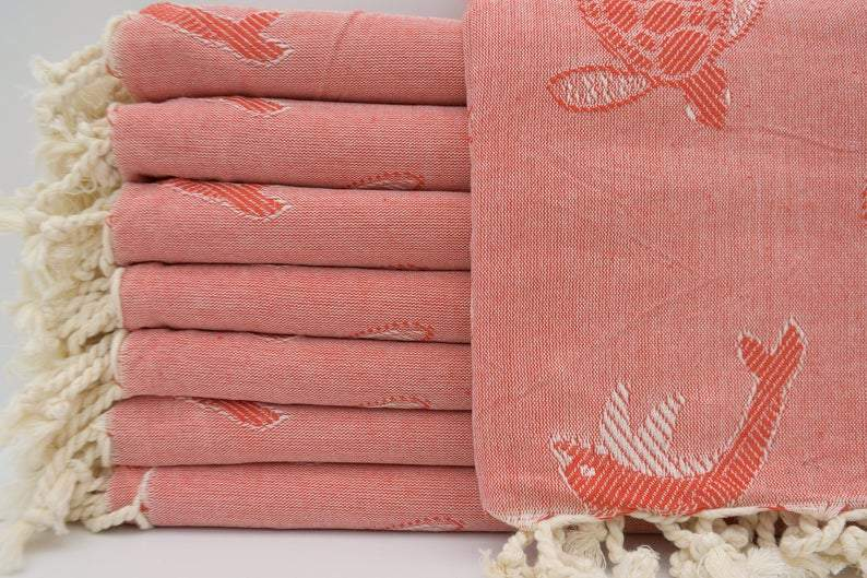 Sea Turtles and Dolphins Red 100% Cotton Towel