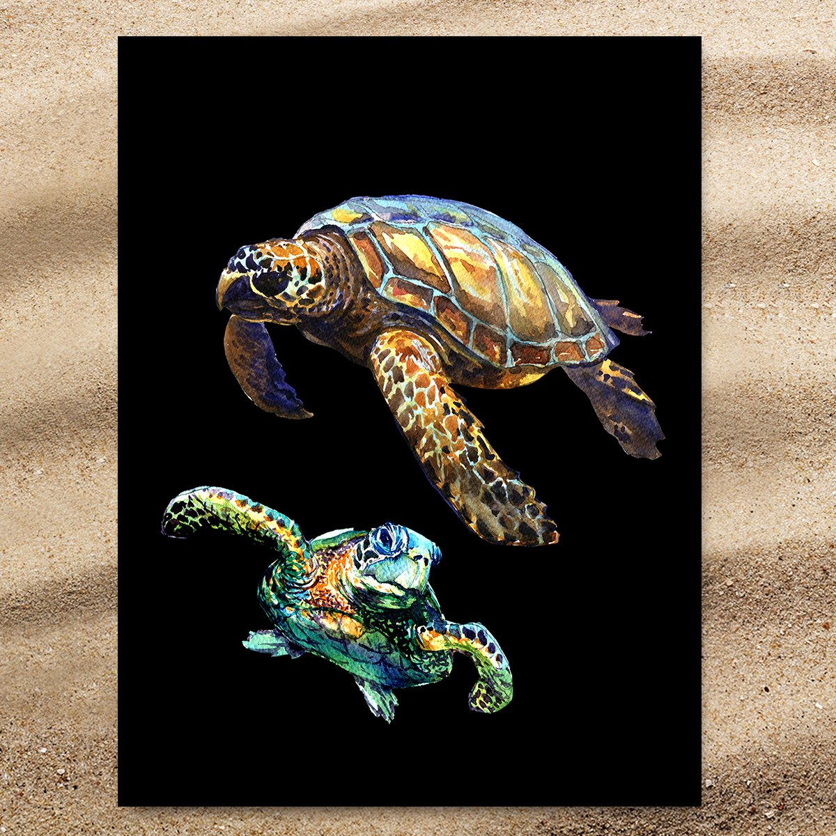 Sea Turtles in Black Extra Large Towel-Coastal Passion