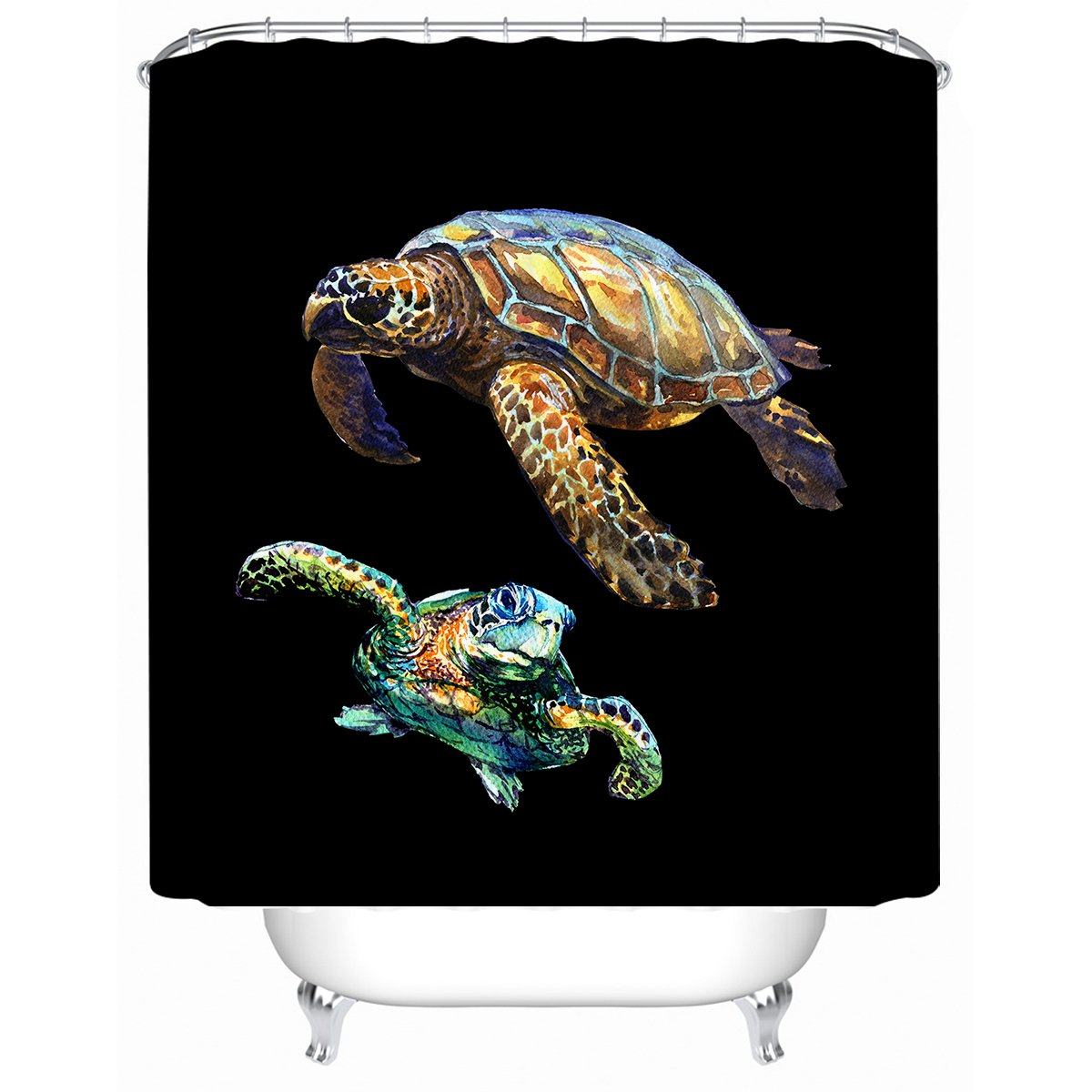 Sea Turtles in Black Shower Curtain