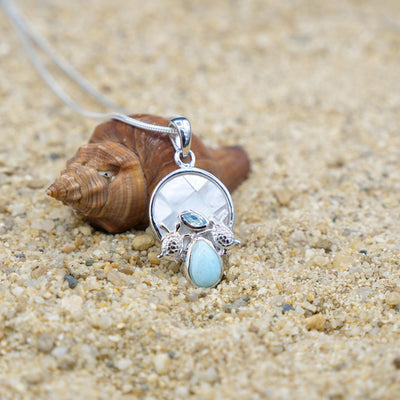 One of a Kind Necklace-Sea Turtles Pendant Necklace with Blue Topaz, Mother of Pearl Mosaic and Larimar Stone-Coastal Passion