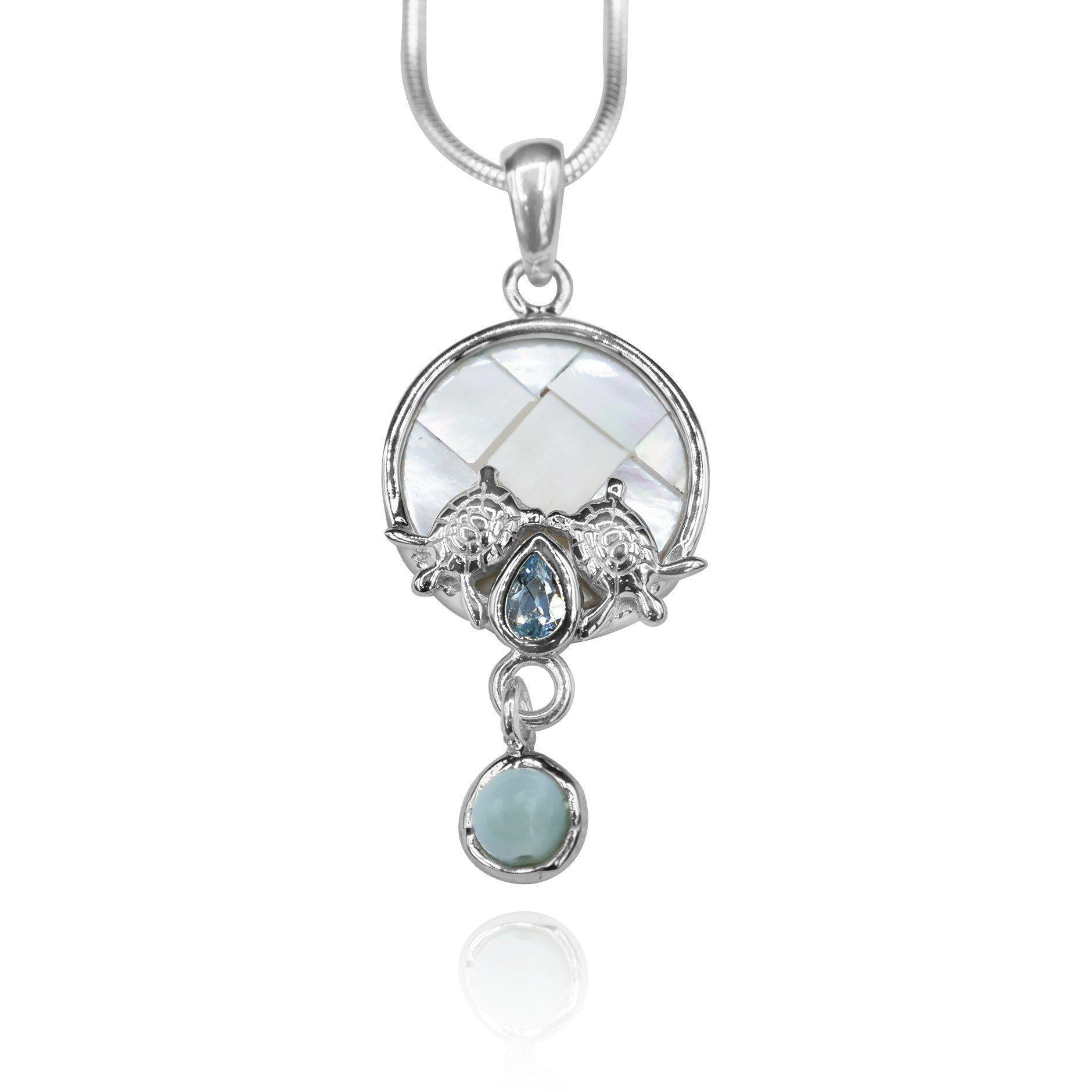 Round shape larimar , blue topaz , mother of pearl sea turtle pendant