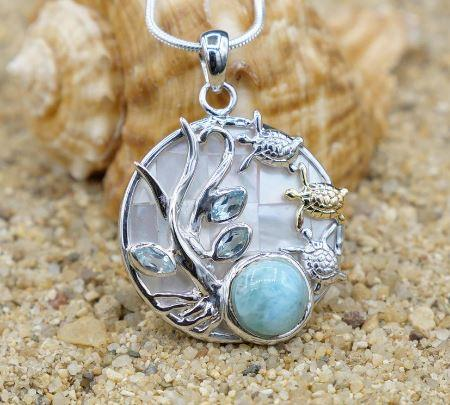 One of a Kind Necklace-Sea Turtles Pendant Necklace with Larimar, Blue Topaz and Mother of Pearl Mosaic-Coastal Passion