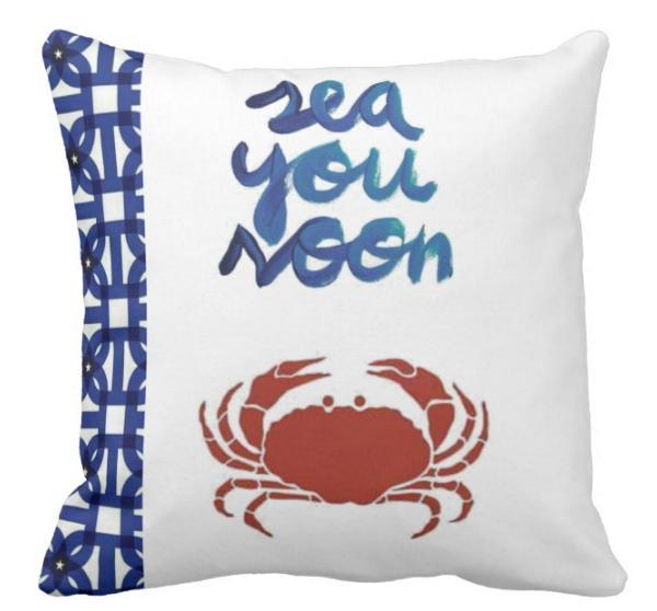 "Sea You Soon Pillow Cover-Pillow Cover-17"" X 17""-Standard: Linen-Polyester-Coastal Passion"