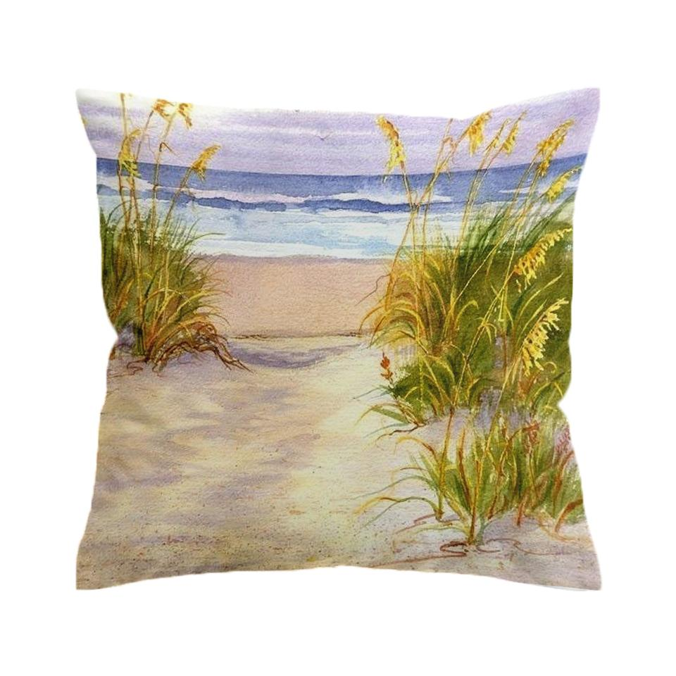 Seagrass Beach Painting 2 Pillow Cover-Coastal Passion