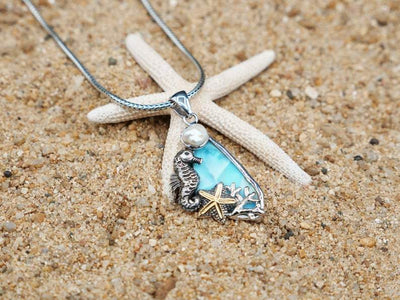 -Seahorse and Starfish Beach Pendant with Larimar and Pearl - Only One Piece Created-Coastal Passion