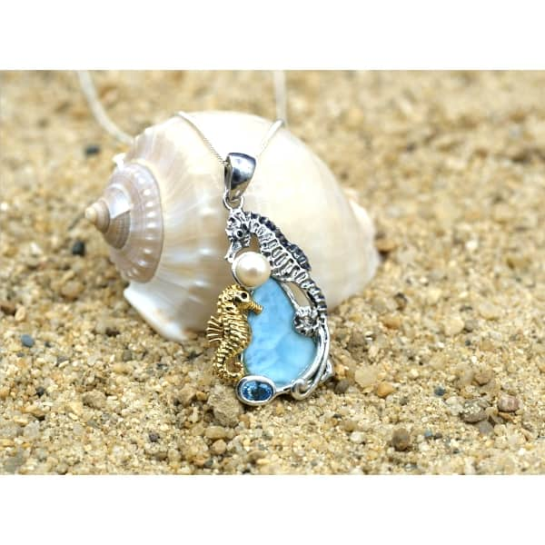 -Seahorse Couple Beach Pendant with Larimar, Blue Topaz and Pearl - Only One Piece Created-Coastal Passion
