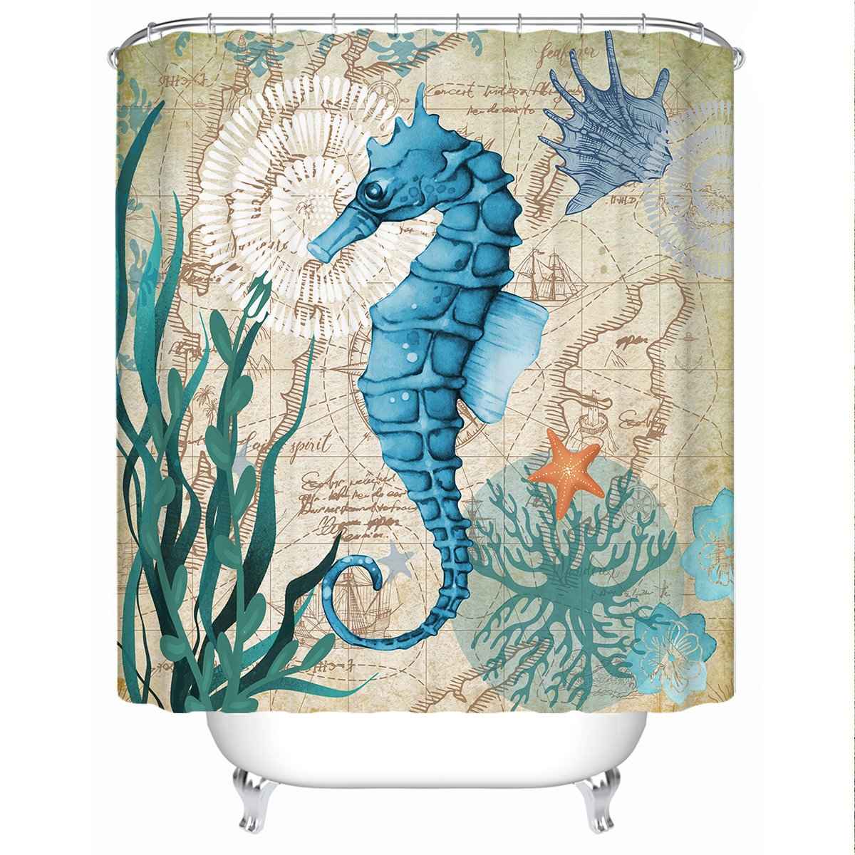 Seahorse Love Shower Curtain-Coastal Passion