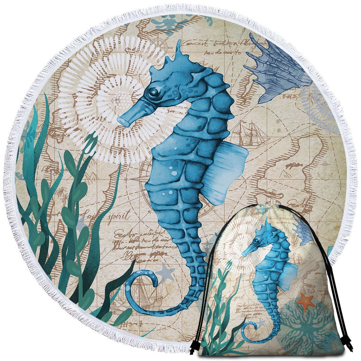 Seahorse Love Towel + Backpack-Coastal Passion
