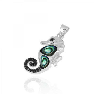 Pendant-Sea Horse Pendant Necklace with Abalone Shell and Black Spinel-Coastal Passion