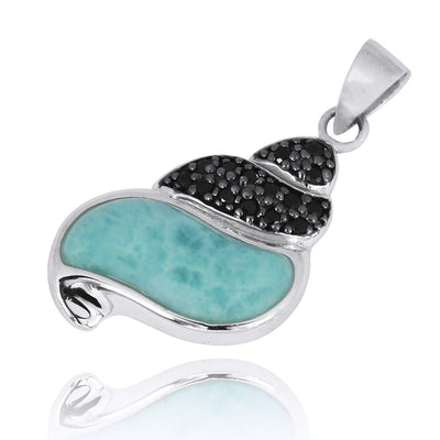 Pendant-Seashell Pendant Necklace with Larimar and Black Spinel-Coastal Passion