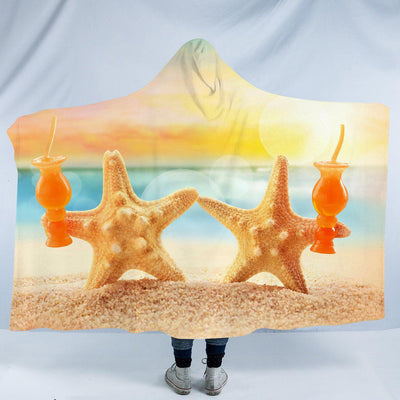"Starfish Friday Cozy Hooded Blanket-Fleece Hooded Blanket-Adults: Size 80"" x 60""-Coastal Passion"