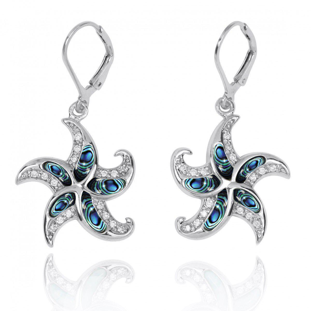 Starfish Lever Back Earrings with Abalone Shell and White CZ
