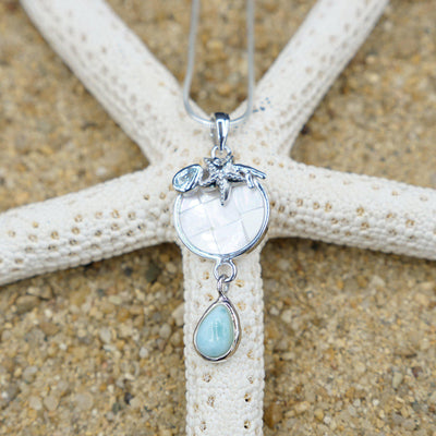 One of a Kind Necklace-Starfish Pendant Necklace with Blue Topaz, Mother of Pearl Mosaic and Larimar Stone-Coastal Passion