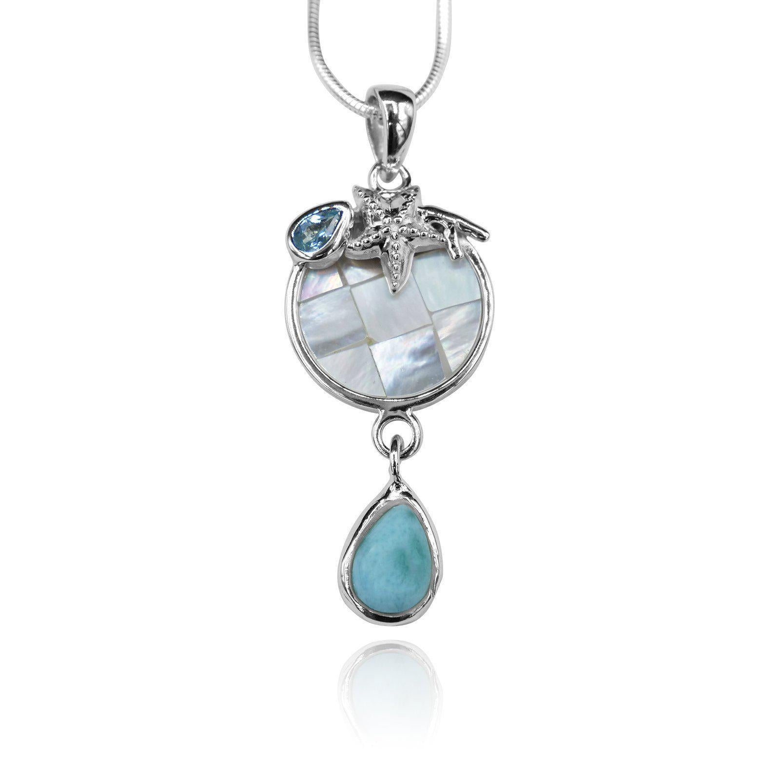 Starfish Pendant Necklace with Blue Topaz, Mother of Pearl Mosaic and Larimar Stone