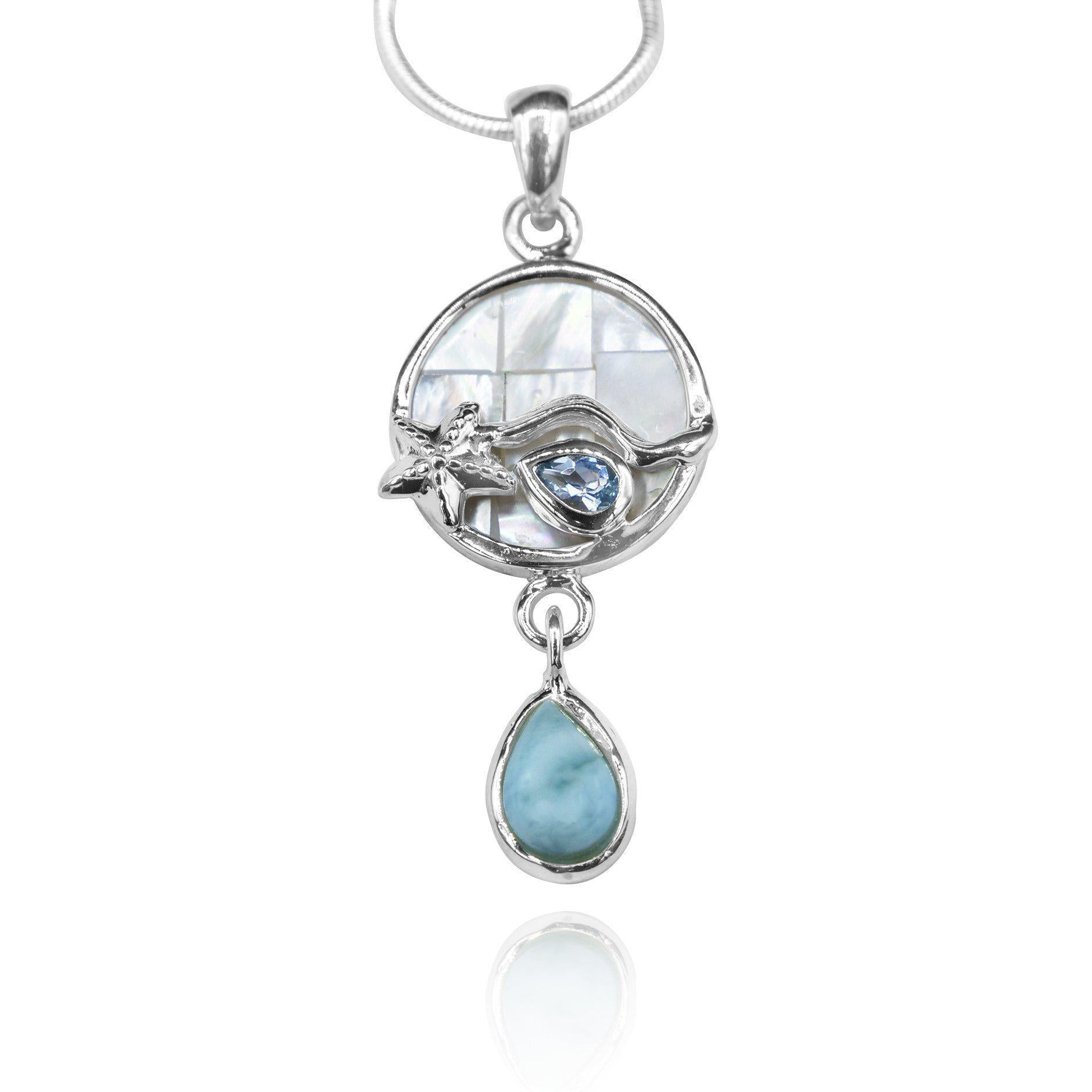 Round shape larimar , blue topaz , mother of pearl sea nautical  pendant
