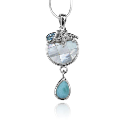 Pear shape larimar , blue topaz , star fish , round mother of pearl pendant