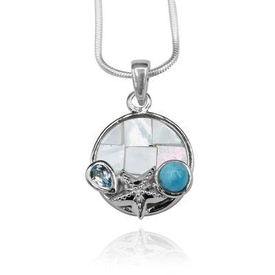 Round shape larimar with  blue topaz , starfish   , round mother of pearl pendant