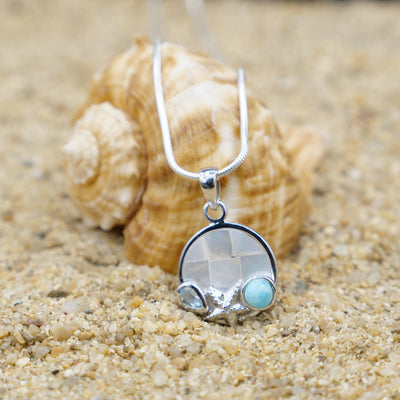 One of a Kind Necklace-Starfish Pendant Necklace with Larimar, Blue Topaz and Mother of Pearl Mosaic-Coastal Passion