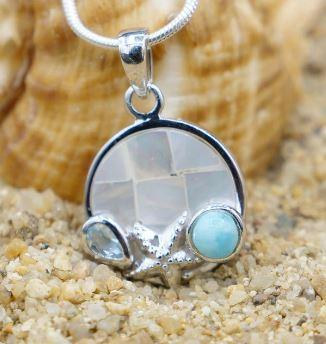Starfish Pendant Necklace with Larimar, Blue Topaz and Mother of Pearl Mosaic