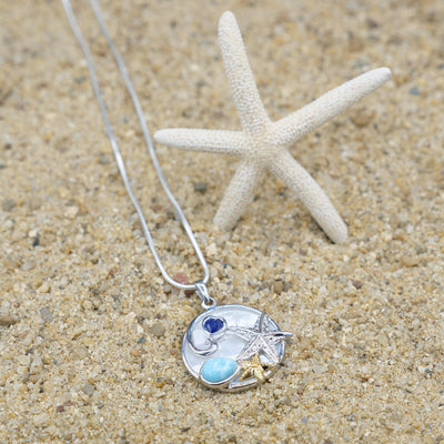One of a Kind Necklace-Starfish Pendant Necklace with Larimar, Lapis Lazuli and Mother of Pearl-Coastal Passion