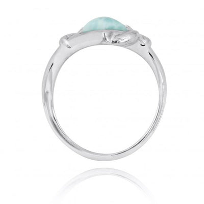 Ring-Sterling Silver Anchor Ring with Larimar, London Blue Topaz and White CZ-Coastal Passion