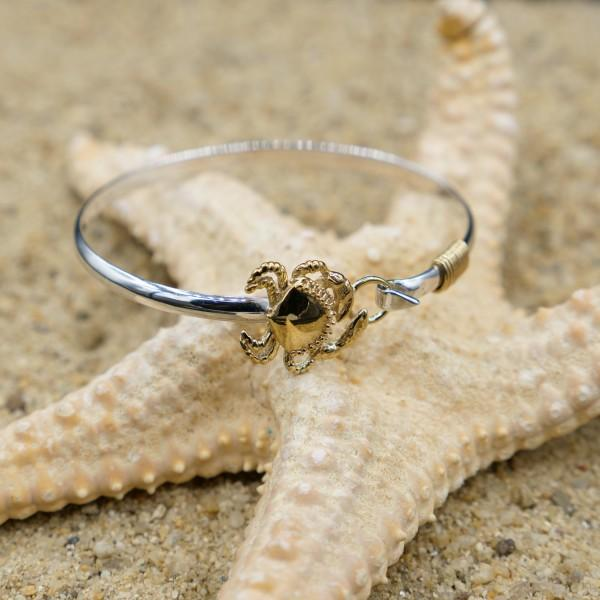 Bracelet-Sterling Silver Bangle with 18k Gold Crab-Coastal Passion
