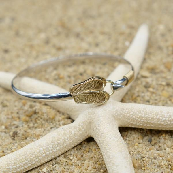 Bracelet-Sterling Silver Bangle with 18k Gold Flip Flops-Coastal Passion