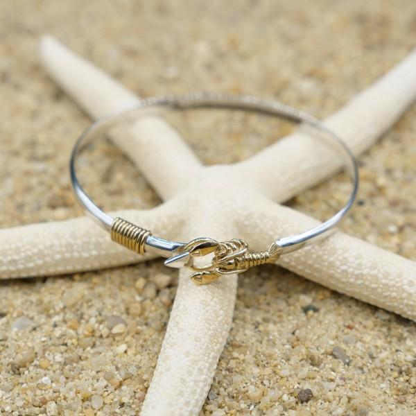 Bracelet-Sterling Silver Bangle with 18k Gold Lobster-Coastal Passion