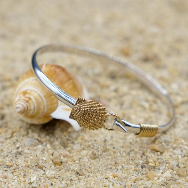 Bracelet-Sterling Silver Bangle with 18k Gold Scallop Shell-Coastal Passion