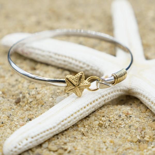Bracelet-Sterling Silver Bangle with 18k Gold Starfish-Coastal Passion