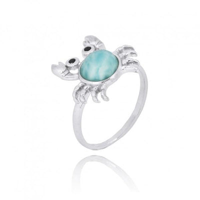 Ring-Sterling Silver Crab Ring with Larimar and Black Spinel-Coastal Passion