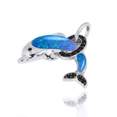 Pendant-Sterling Silver Dolphin Pendant Necklace with Blue Opal and Black Spinel-Coastal Passion