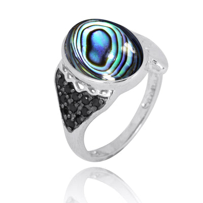 Ring-Sterling Silver Fin Ring with Abalone Shell and Black Spinel-Coastal Passion