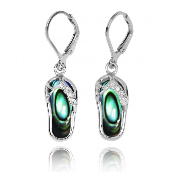 Earrings-Sterling Silver Flip Flop Lever Back Earrings with Abalone Shell and White CZ-Coastal Passion