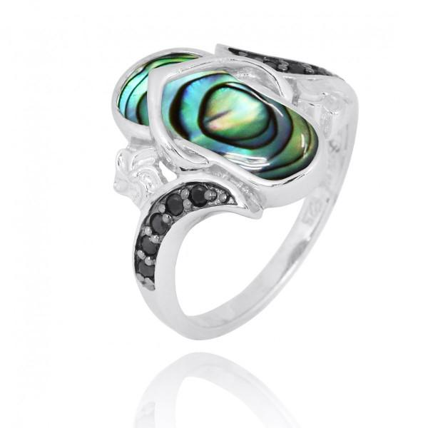 Ring-Sterling Silver Flip Flop Ring with Abalone Shell and Black Spinel-Coastal Passion
