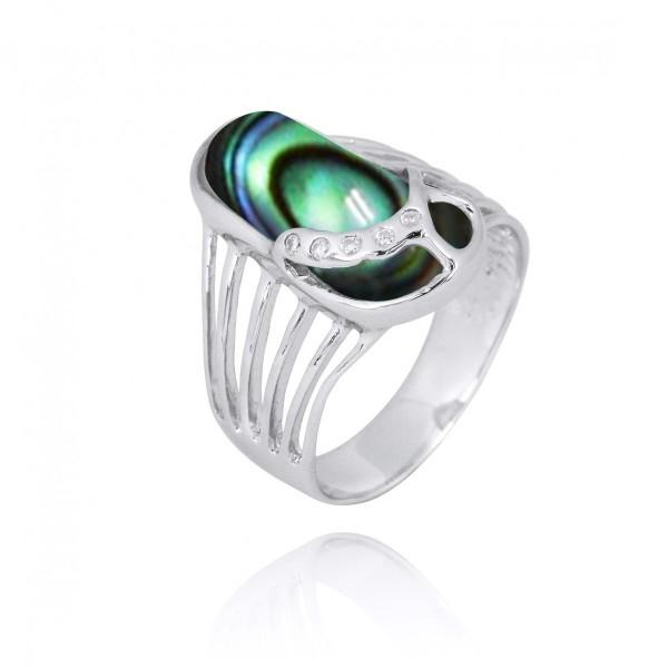 Ring-Sterling Silver Flip Flop Ring with Abalone Shell and White CZ-Coastal Passion