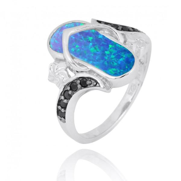 Ring-Sterling Silver Flip Flop Ring with Blue Opal and Black Spinel-Coastal Passion