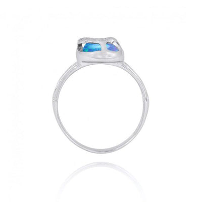 Ring-Sterling Silver Flip Flop Ring with Blue Opal and White CZ-Coastal Passion